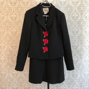 VINTAGE Teri Jon Suit with red rosettes